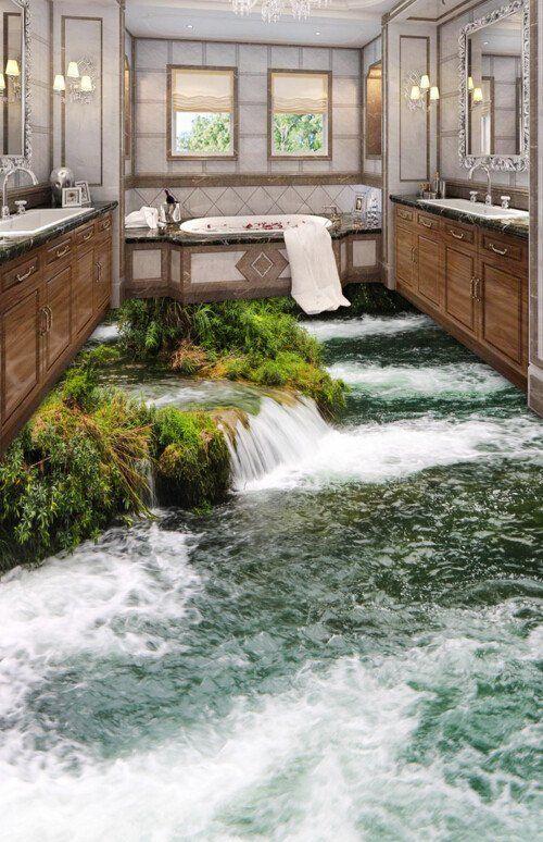 Τρισδιάσταση ταπετσαρία μπάνιου