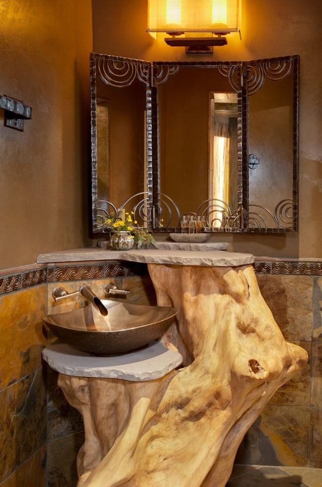 μπάνιο με ξύλο πέτρα